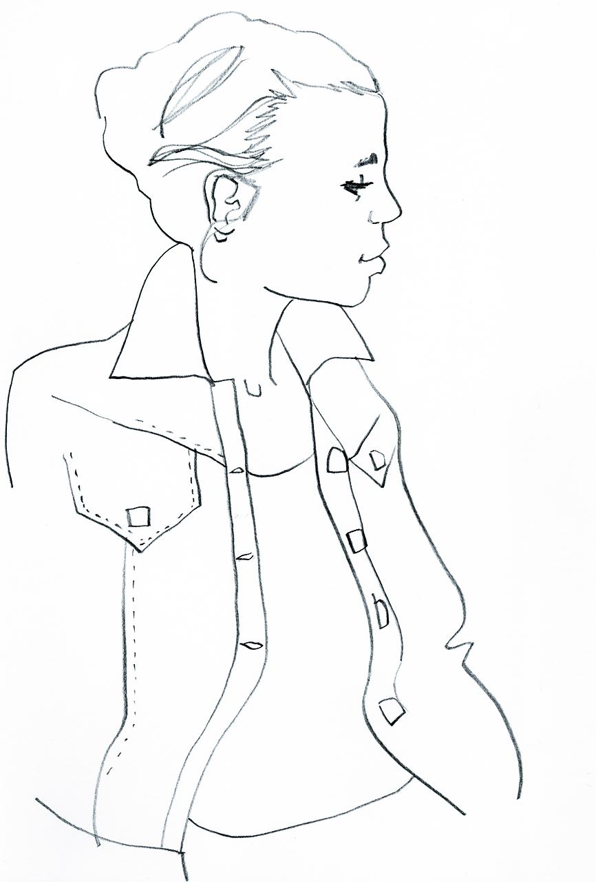Modezeichnung Jeansjacke