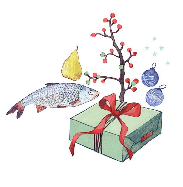 """Editorial llustrationen """"Ökologische Weihnachten"""" für das Magazin Beobachter Natur"""