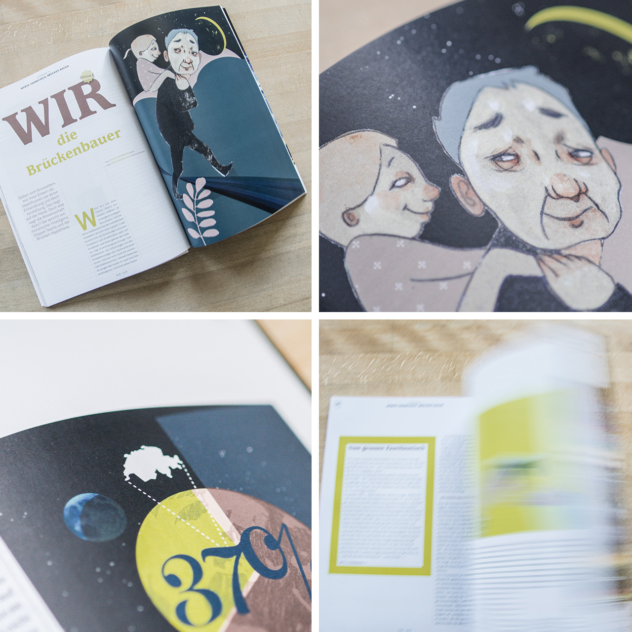 Editorial Illustrationen im Layout des Grosselternmagazins