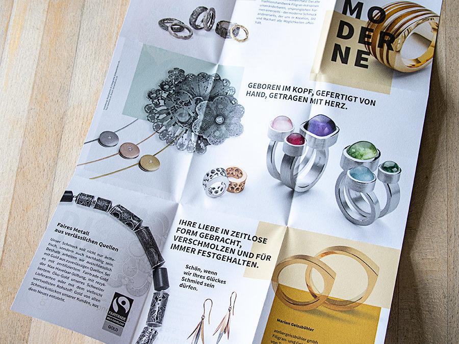 Atelier Geissbühler: Faltflyer Tradition und Moderne